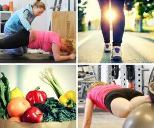 Collage van foto's: coach helpt sporter bij een oefening, een wandelaar, fruit en groente en een sporter aan het trainen
